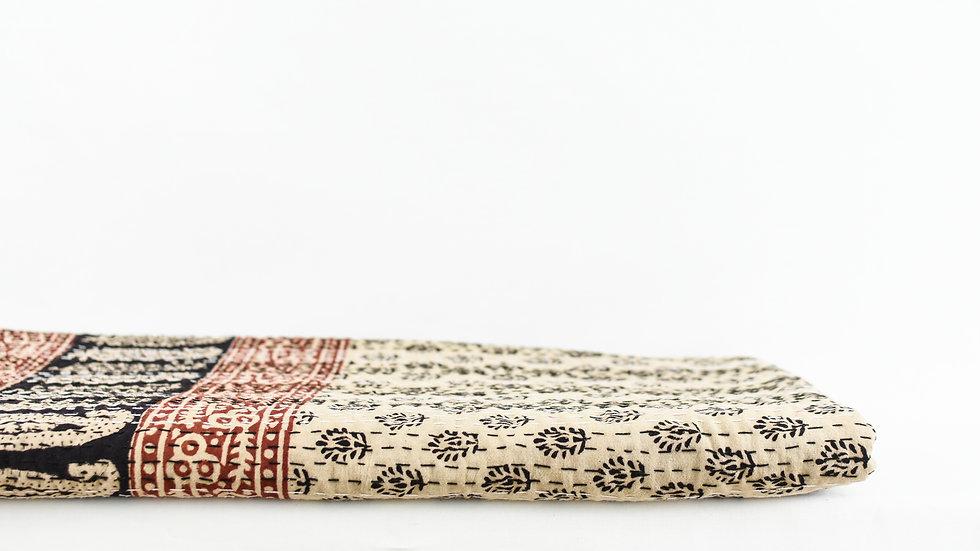Beige and Black Leaf Block Print Quilt