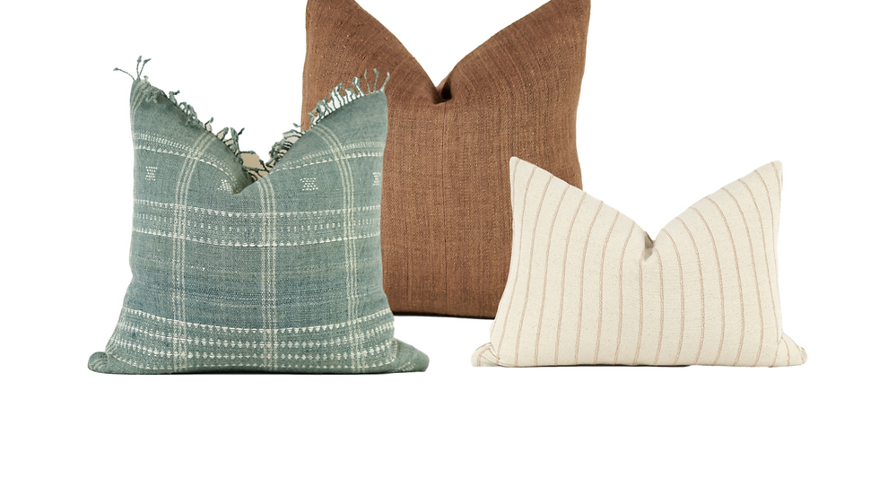 Rust, Aqua and White Pillow Combination
