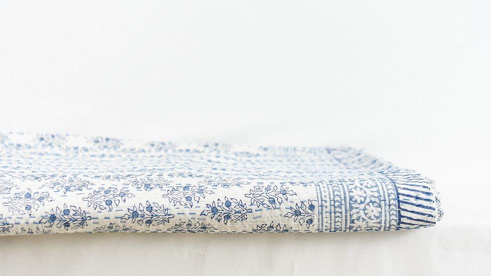 Blue Block Print Kantha Quilt