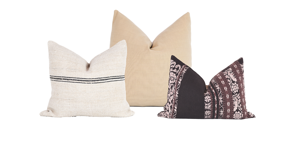 Neutral Patterned Pillow Combination
