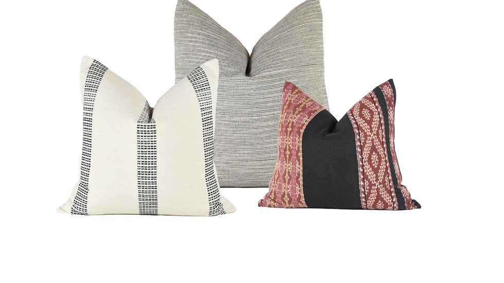 Grey and White Patterned Pillow Combination