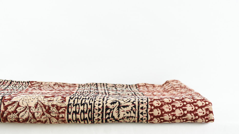 Beige and Red Block Print Kantha Quilt