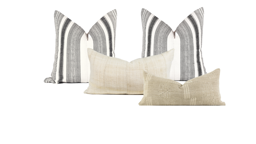Black, White and Neutral Bed Pillow Combination
