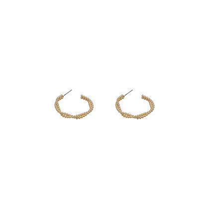Cross Beaded Hoop Earrings