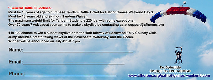 BACK OF RAFFLE TICKET PATRIOT GAMES WEEK