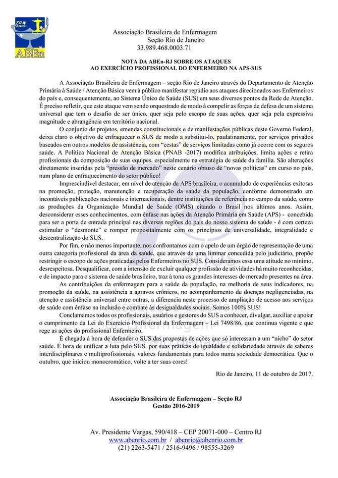 Nota da ABEn-RJ sobre os ataques ao exercício profissional do Enfermeiro da APS-SUS