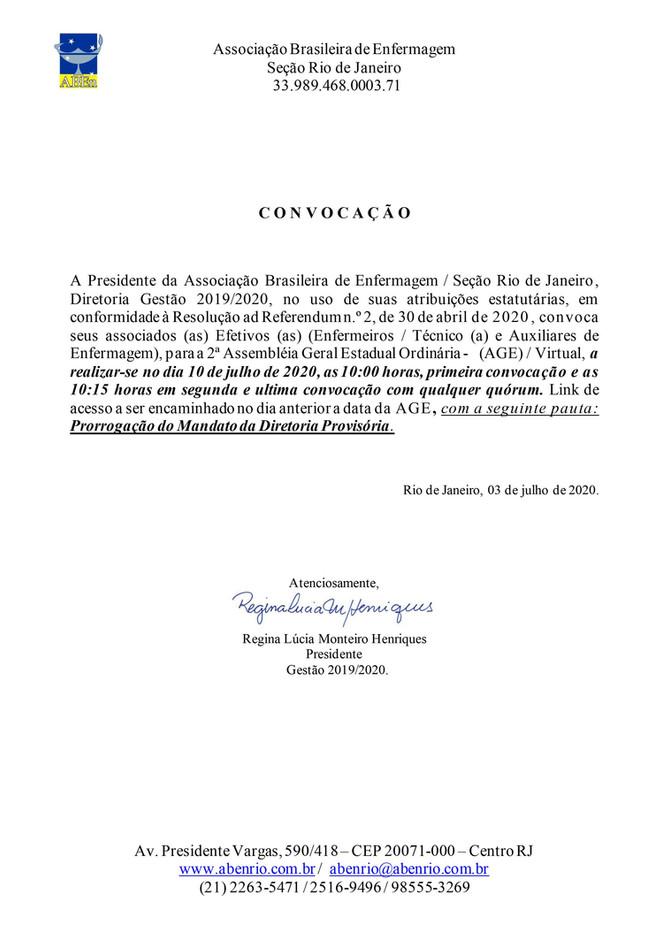 Convocação 2ª AGE - 2020