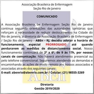 Comunicado de Funcionamento ABEn Rio