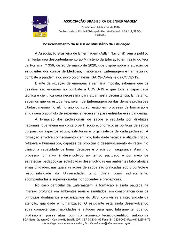 Posicionamento da ABEn ao Ministério da Educação