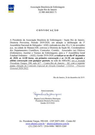 Convocação para 1ª Assembléia Geral Estadual Ordinária - (AGE), Gestão 2019-2020