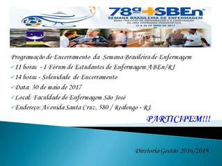 Programação do Encerramento da Semana Brasileira de Enfermagem