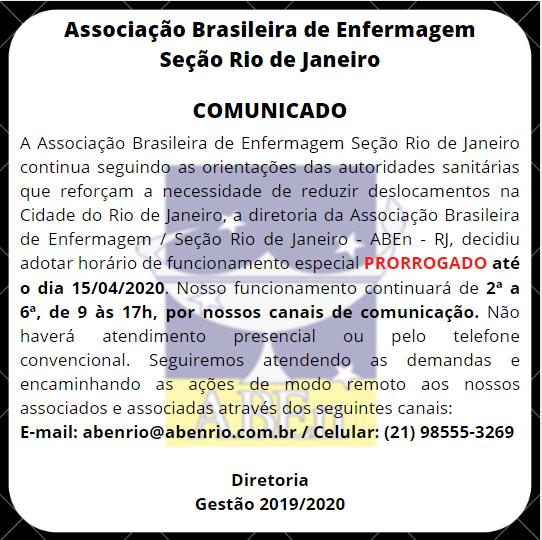 ATENÇÃO AO FUNCIONAMENTO DA ABEn RIO