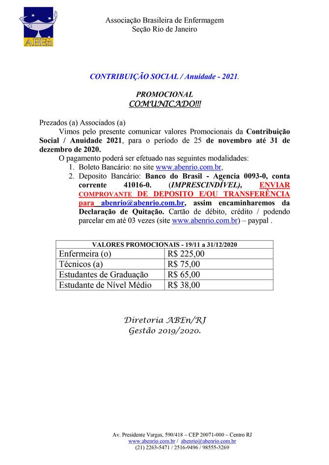 Contribuição Social / Anuidade 2021 PROMOCIONAL (1º Lote)