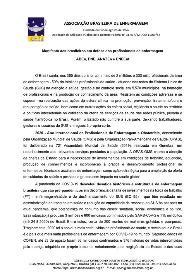 Manifesto aos brasileiros em defesa dos profissionais de enfermagem -  ABEn, FNE, ANATEn e ENEEnf