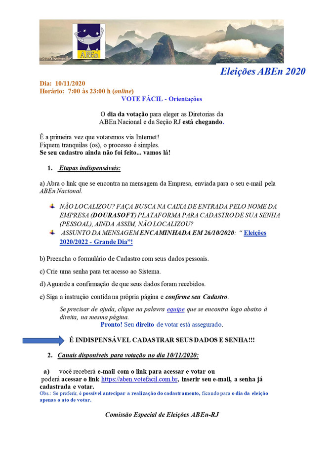 Orientaçao Eleiçoes ABEn 2020 - Comissão Especial de Eleição Estadual /CEEEst