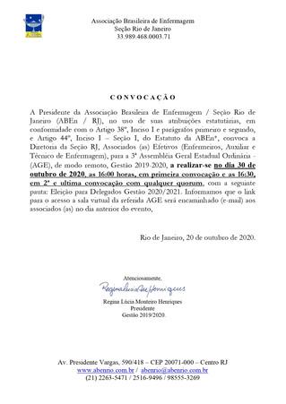 Convocação 3ª AGE Eleição Delegados