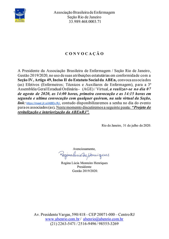Convocação 3ª AGE - 2020