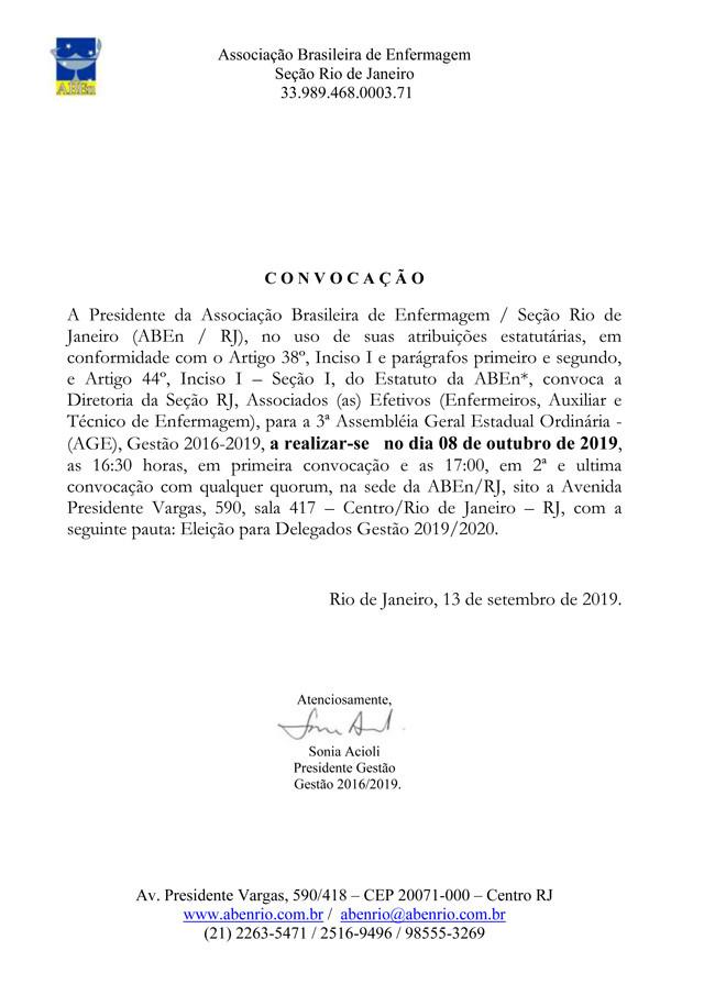 Convocação - 3ª Assembleia Geral Estadual - Ordinária (AGE)