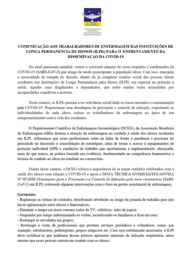 Informe aos profissionais de enfermagem que atuam em ILPIs para o enfrentamento da COVID-19