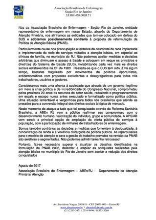Nota em Defesa do SUS e contrária à proposta de reformulação da Política de Atenção Básica (PNAB)