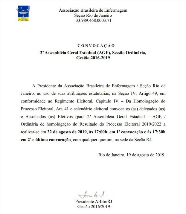 Convocação - 2ª Assembleia Geral Estadual - Ordinária (AGE)