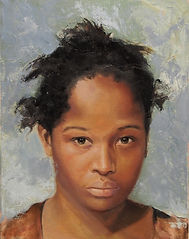 painted portrait by Christine Cousineau of an african american black girl