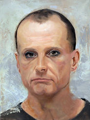 painted portrait by Christine Cousineau of white male eyeliner