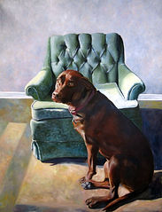 Painting of a dog lab pitbull mix in front of a green chair