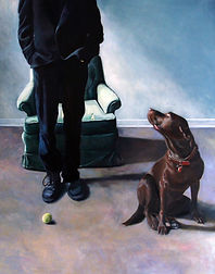 painting of a dog and a man and a ball dog is lab pitbull mix