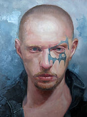 painted portrait by Christine Cousineau of white male man tattoo on face bald goatee