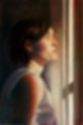 painting of a woman short hair white t-shirt staring out of a window