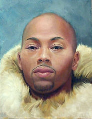 painted portrait by Christine Cousineau of a african american male man goatee beard bald