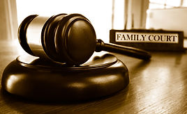 Judge's legal gavel and Family Court nam