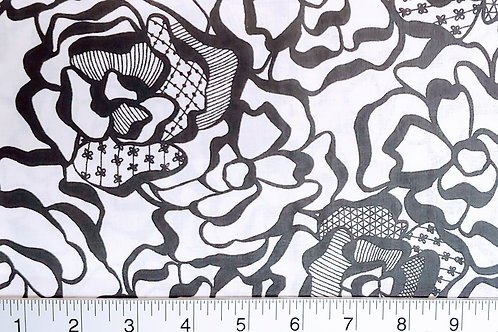 Quilting Sewing Cotton Fabric Black on White Rose Print