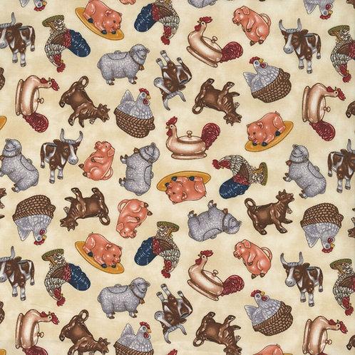 Cotton Fabric Novelty Print Farm Animals allover print