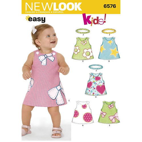 New Look Sewing Pattern EASY Baby Rompers and Headband 6576