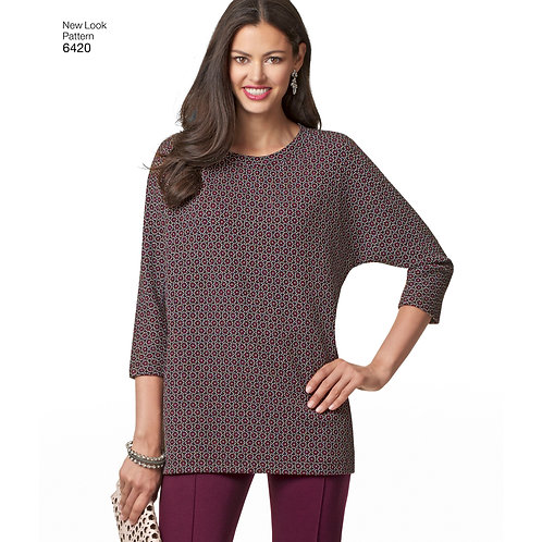 New Look Pattern 6420 Misses' Knit Skirt, Pants and Top