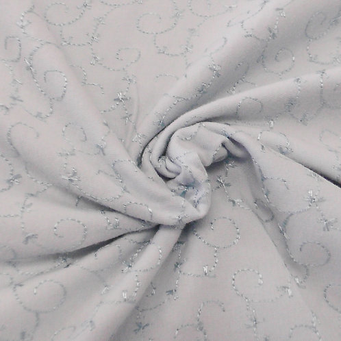 Pastel Blue Embroidered Knit Fabric