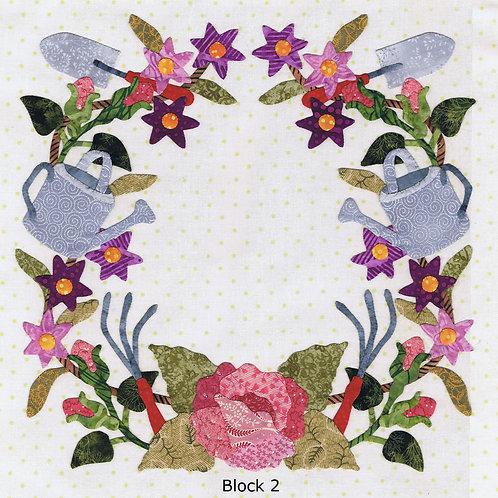 Baltimore Spring Block 2 Gardening Wreath Pattern by Pearl P. Pereira