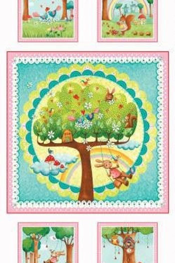 Rainbow Woods Quilt Panel by Red Rooster