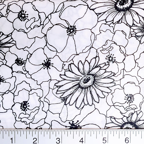 Quilting Sewing Cotton Fabric Black on White Floral Print