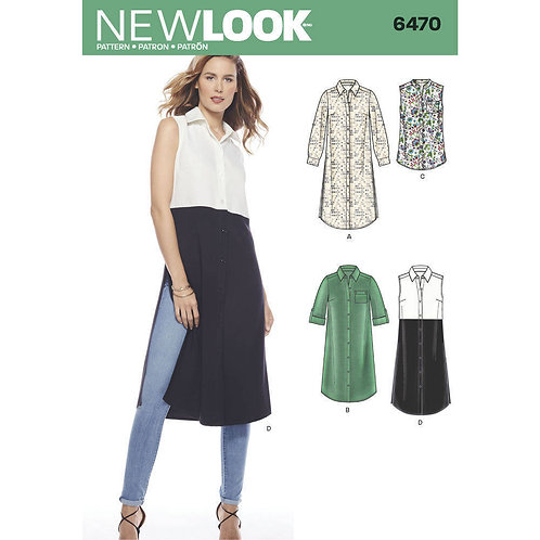 New Look Pattern 6470 Misses' Shirts with Sleeve and Length Options