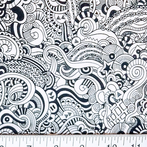 Quilting Sewing Cotton Fabric Black on White Coloring Book Print