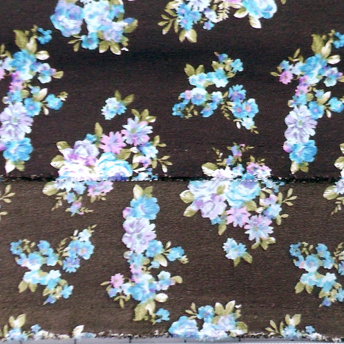 Black Lilac and Aqua Floral Fabric for  Dress, Skirt or Blouse