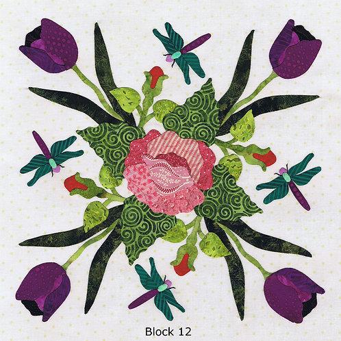 Baltimore Spring Block 12 TULIP WREATH Pattern by Pearl P. Pereira