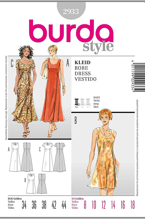Burda Style Sewing Pattern 2933 Misses' Dresses