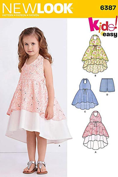 New Look Sewing Pattern 6387 Girls Dress Pattern and Shorts Pattern