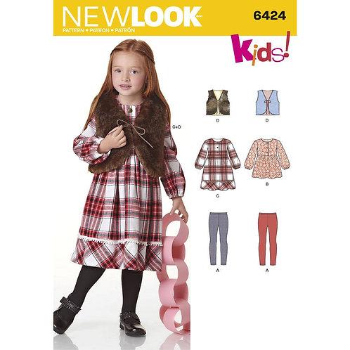 New Look Sewing Pattern 6424 Girls Vest, Dress, Leggings Ensemble Pattern