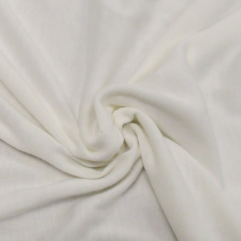 White Cotton Rib Knit Fabric