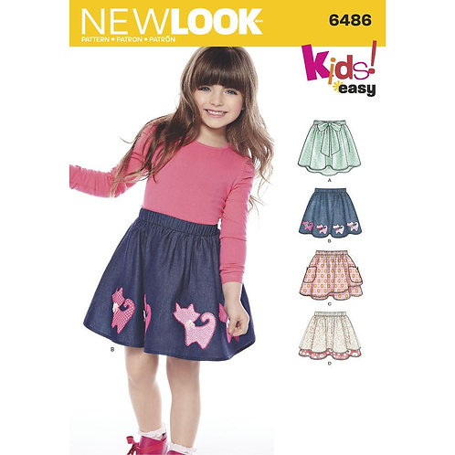 New Look Pattern 6486 Girl's Easy Skirts